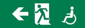 International symbol of access exit sign with a wheelchair symbol and Japanese style Running Man, on green background. From SO 21542:2011.
