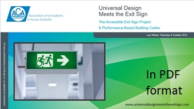 ACAA Universal Design Meets the Exit Sign, Lee Wilson, 8 October 2015 - PDF