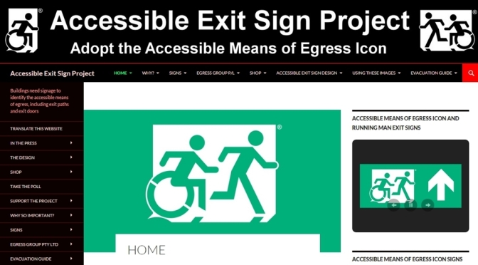 Accessible Exit Sign Project website screen image
