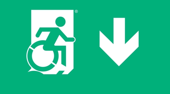 Accessible Means of Egress Icon image, part of the Accessible Exit Sign Project
