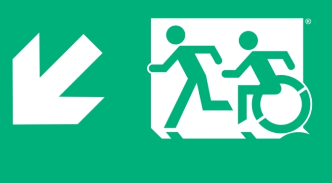 Accessible Means of Egress Icon with the Running Man on an exit sign