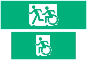 Image shows two different green exit signs. The first has a person running followed by a person using a wheelchair, moving in the same style as the running person, they are moving the left. The second green exit sign just has the person using a wheelchair moving quickly to the left.