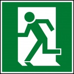 Running Man exit sign in alternate design of the running man pictorial element, which differs from the traditional Japanese style, man is moving to left through a doorway
