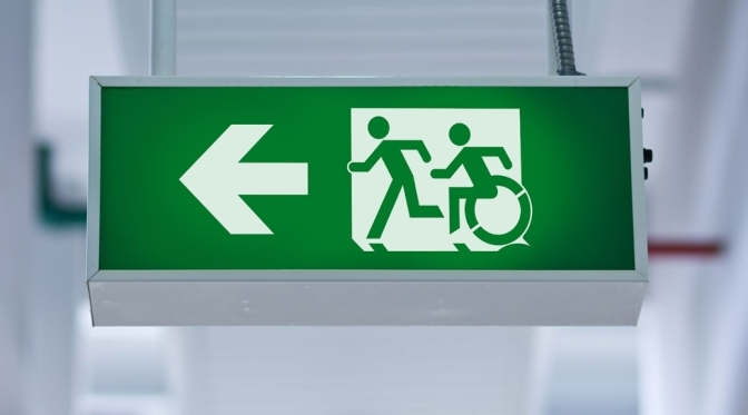 Universal Design Meets the Exit Sign Accessible Means of Egress Icon Exit Sign