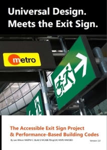Universal Design Meets the Exit Sign Cover Artwork. Airport signage board stating