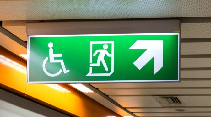 Exit Sign European ISO 21542 style, with wheelchair symbol and running man