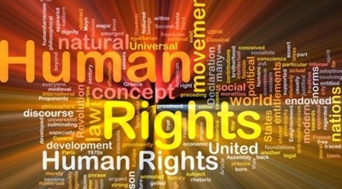 Human Rights keywords presented in modern design