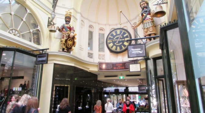 The Royal Arcade in Melbourne, built in 1869. Photo is of the Gog and Magog statues at Gaunt's clock which are modeled on those at Guildhall, London and based on the British myths of the conflict between the ancient Britons and Trojans.