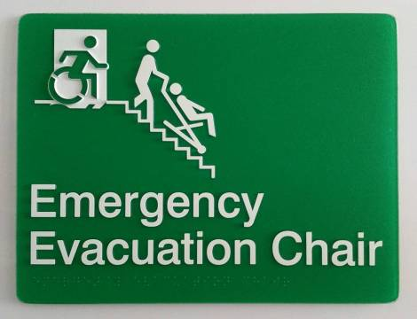 Braille Sign Supplies Emergency Evacuation Chair Sign