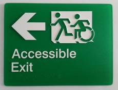 Braille Sign Supplies Exit Left Arrow Sign