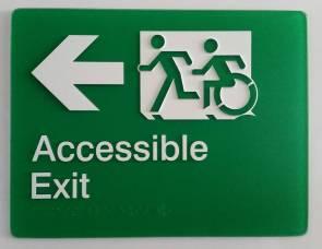 Braille Sign Supplies Exit Left Arrow Sign
