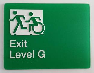 Braille Sign Supplies Exit Level G Sign