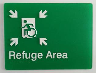 Braille Sign Supplies Refuge Area Sign