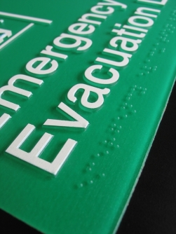 Emergency Evacuation Lift Sign Close Up